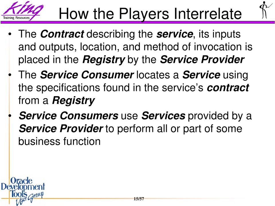 locates a Service using the specifications found in the service s contract from a Registry Service
