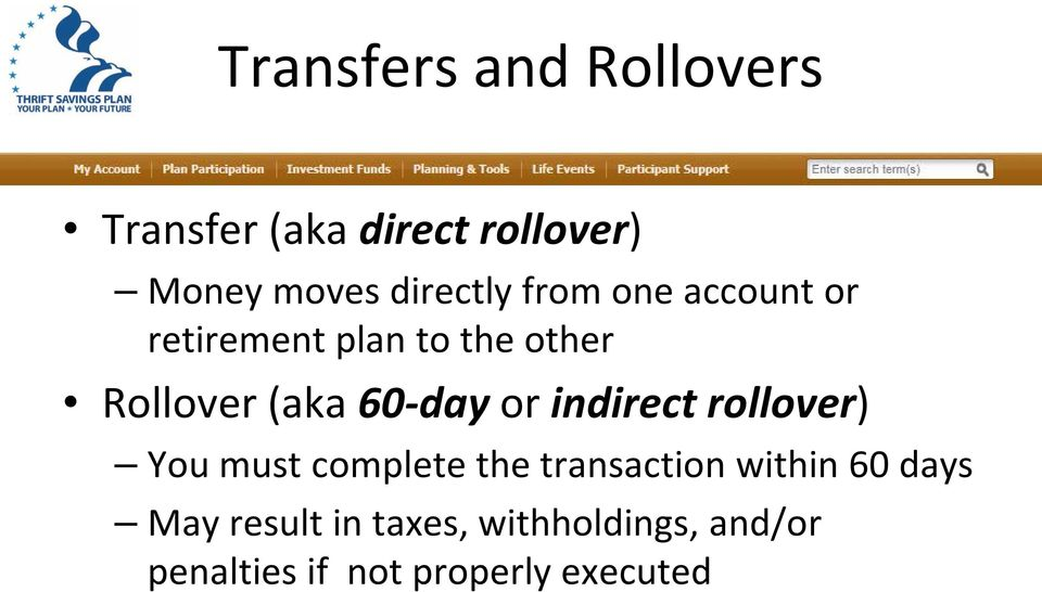 TSP Transfers and Rollovers: How, When, and Why (or Why Not