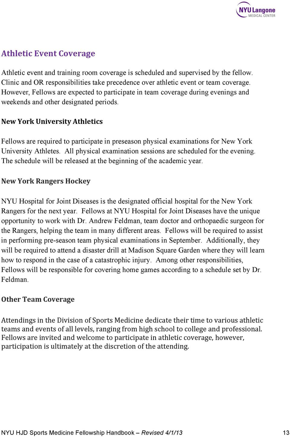 NYU HOSPITAL FOR JOINT DISEASES  Sports Medicine Fellowship