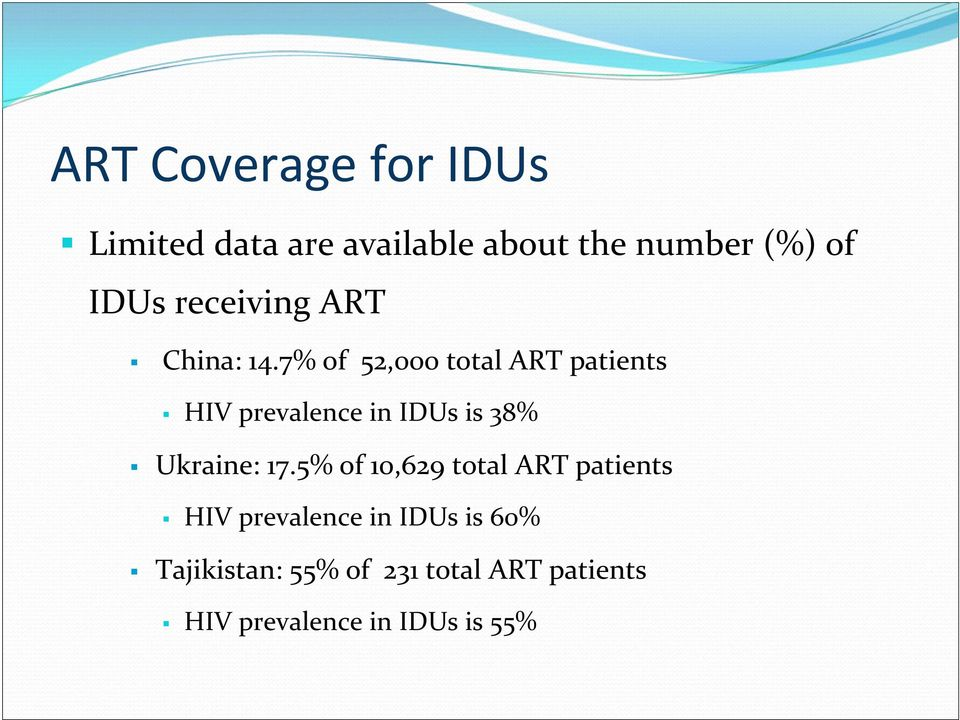 7% of 52,000 total ART patients HIV prevalence in IDUs is 38% Ukraine: 17.