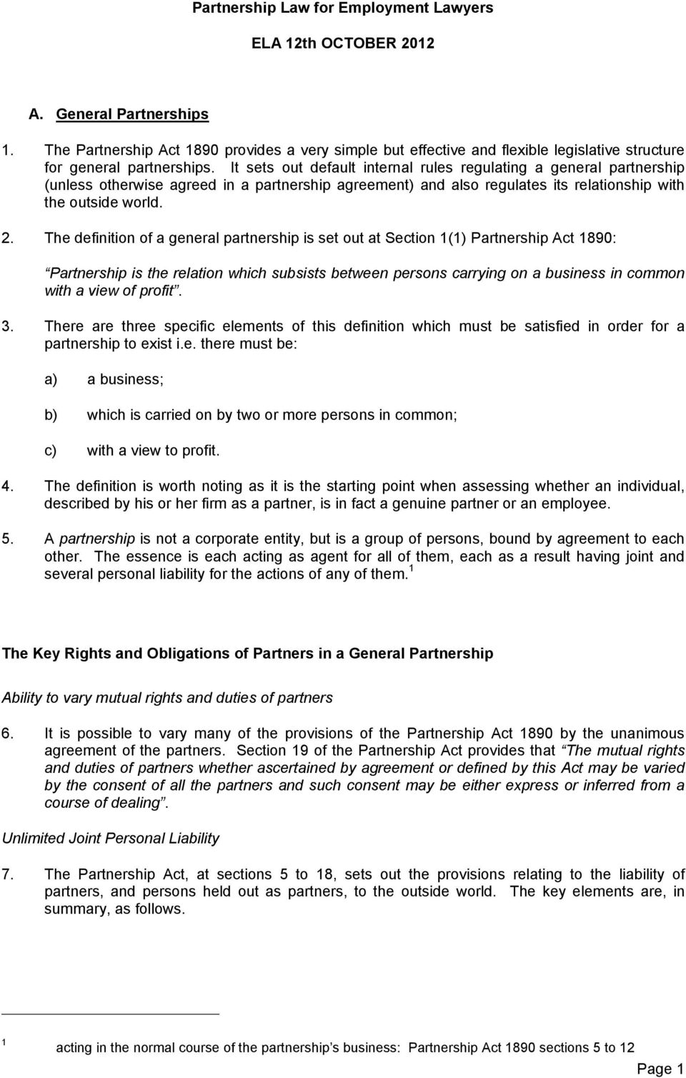 partnership law for employment lawyers. ela 12th october pdf