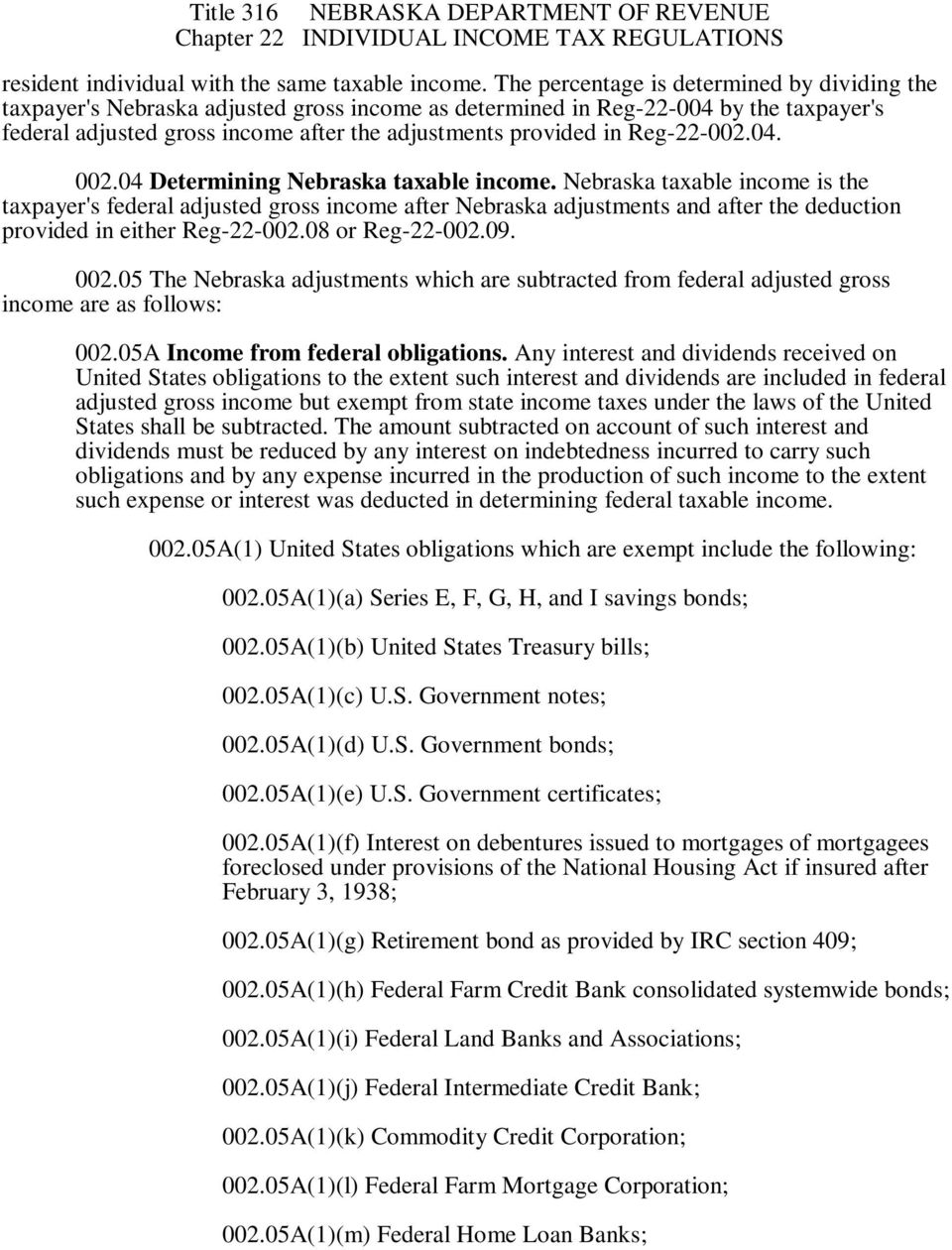 Reg-22-002.04. 002.04 Determining Nebraska taxable income.