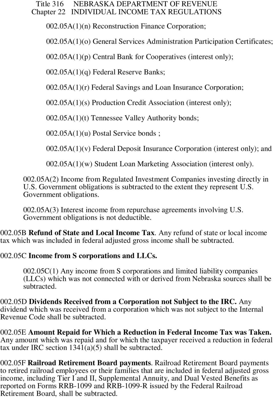 05A(1)(t) Tennessee Valley Authority bonds; 002.05A(1)(u) Postal Service bonds ; 002.05A(1)(v) Federal Deposit Insurance Corporation (interest only); and 002.