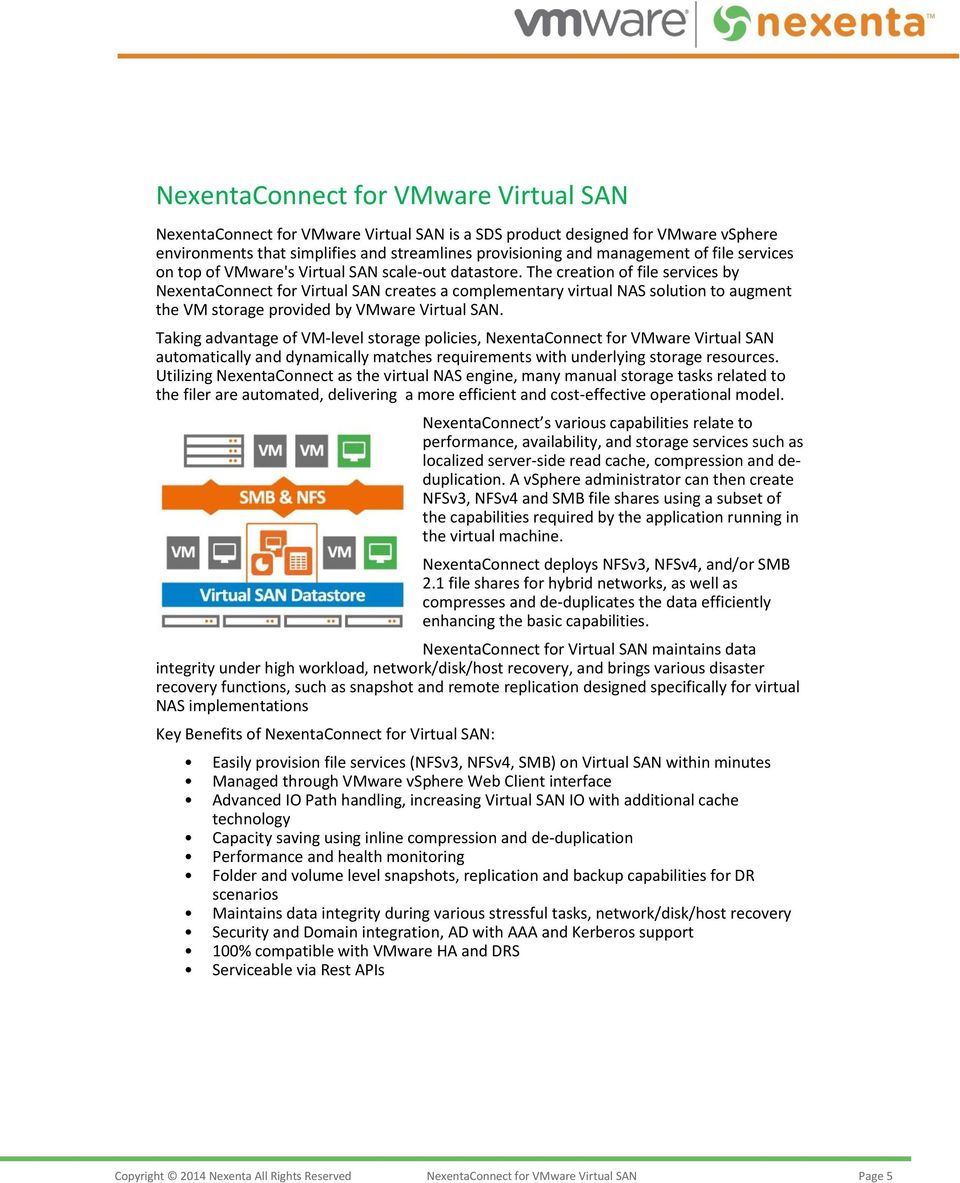 The creation of file services by NexentaConnect for Virtual SAN creates a complementary virtual NAS solution to augment the VM storage provided by VMware Virtual SAN.