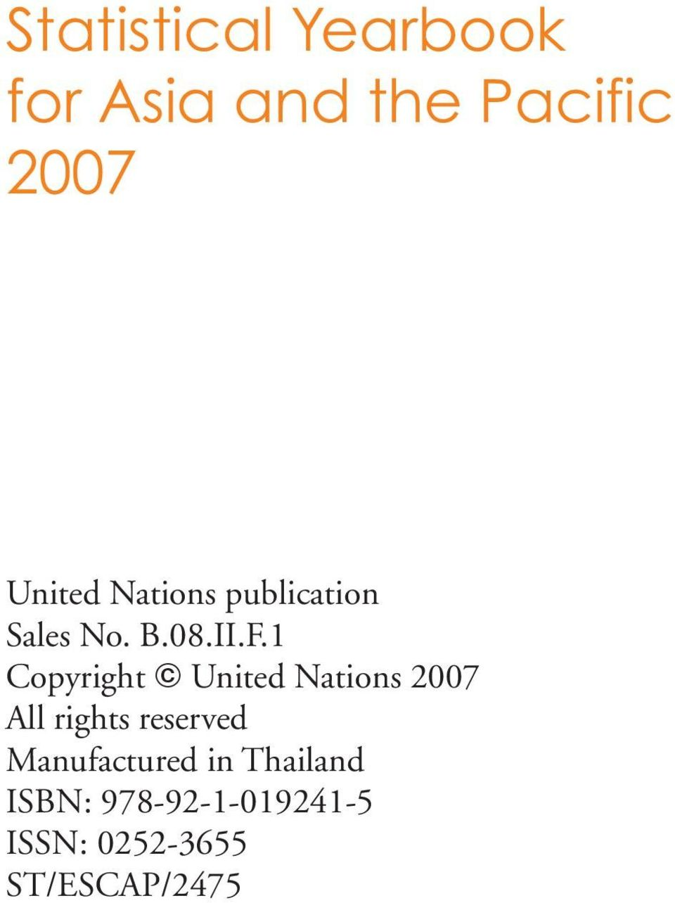 1 Copyright United Nations 2007 All rights reserved