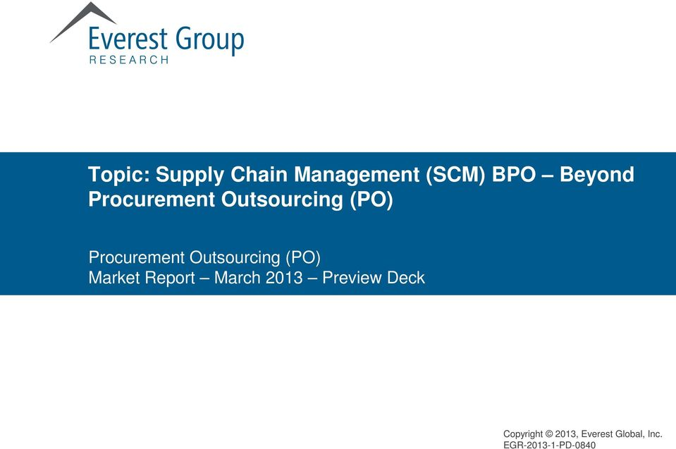 Outsourcing (PO) Procurement