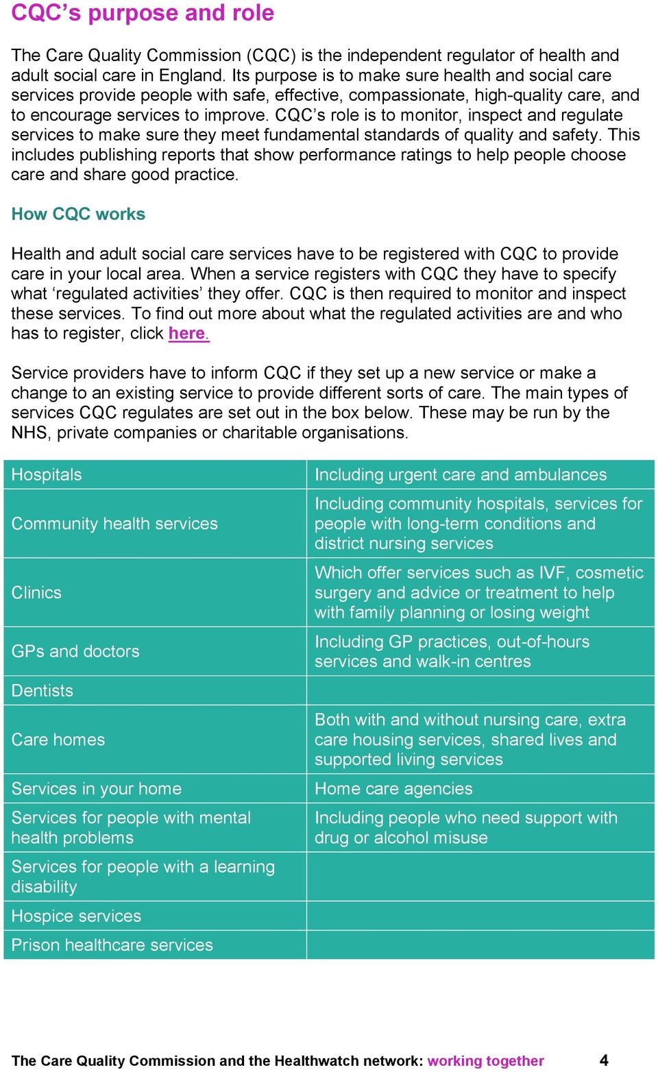 CQC s role is to monitor, inspect and regulate services to make sure they meet fundamental standards of quality and safety.