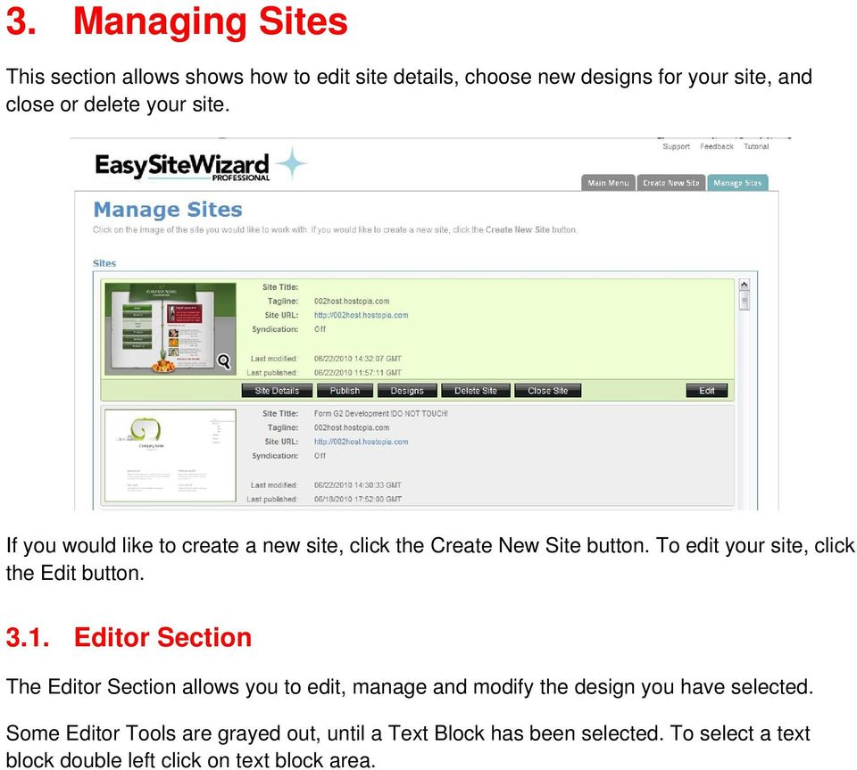 To edit your site, click the Edit button. 3.1.