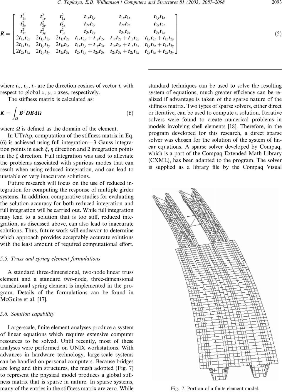 Development of computational software for analysis of curved