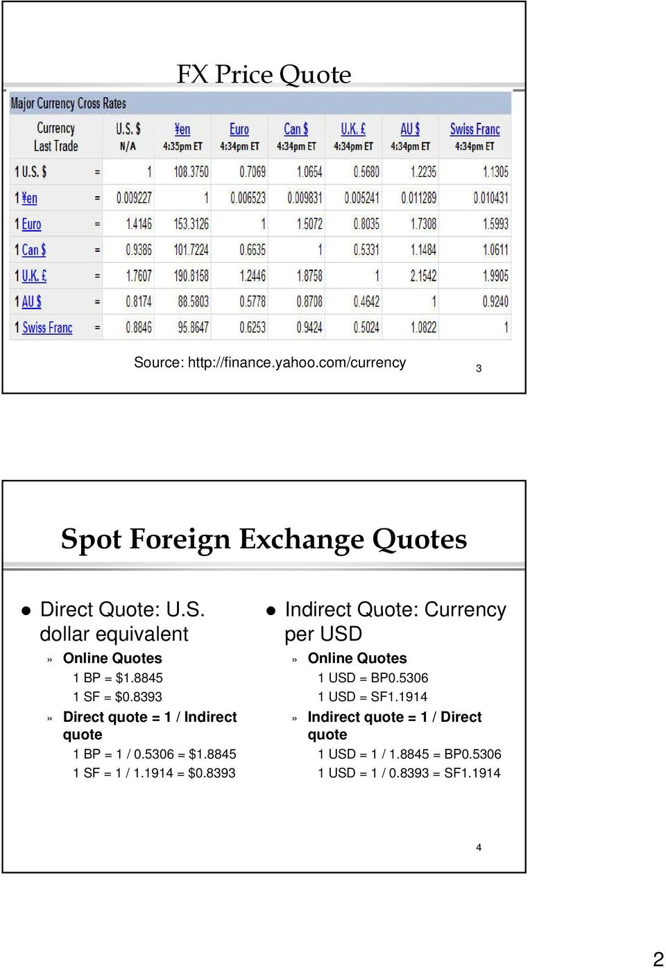 8393 Indirect Quote: Currency per USD» Online Quotes 1 USD = BP0.5306 1 USD = SF1.