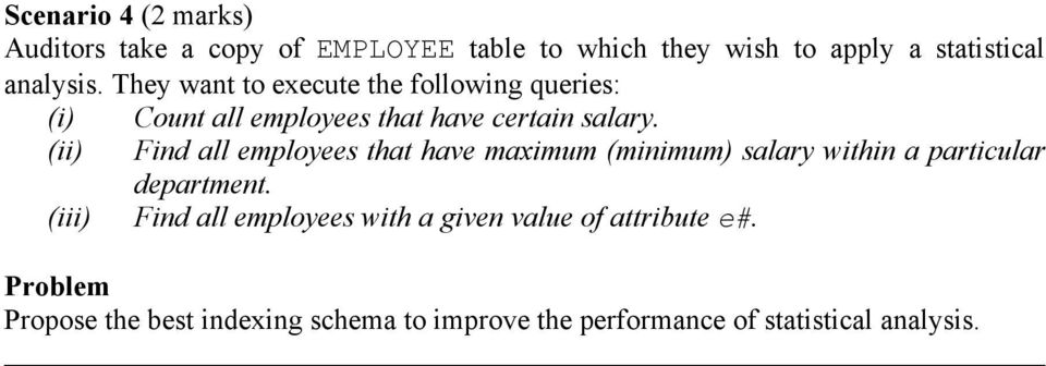 (ii) Find all employees that have maximum (minimum) salary within a particular department.