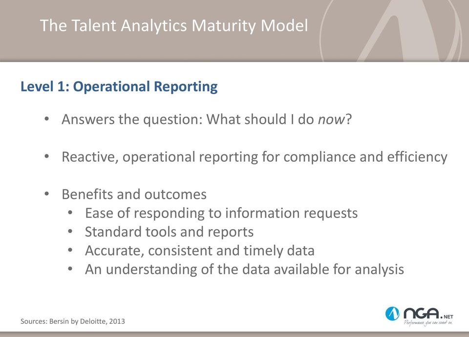 Reactive, operational reporting for compliance and efficiency Benefits and outcomes Ease of