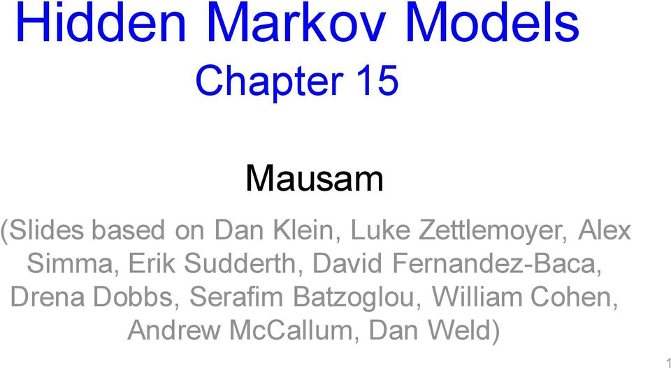 Hidden Markov Models Chapter 15 - PDF