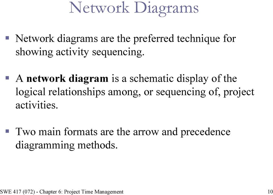 A network diagram is a schematic display of the logical relationships