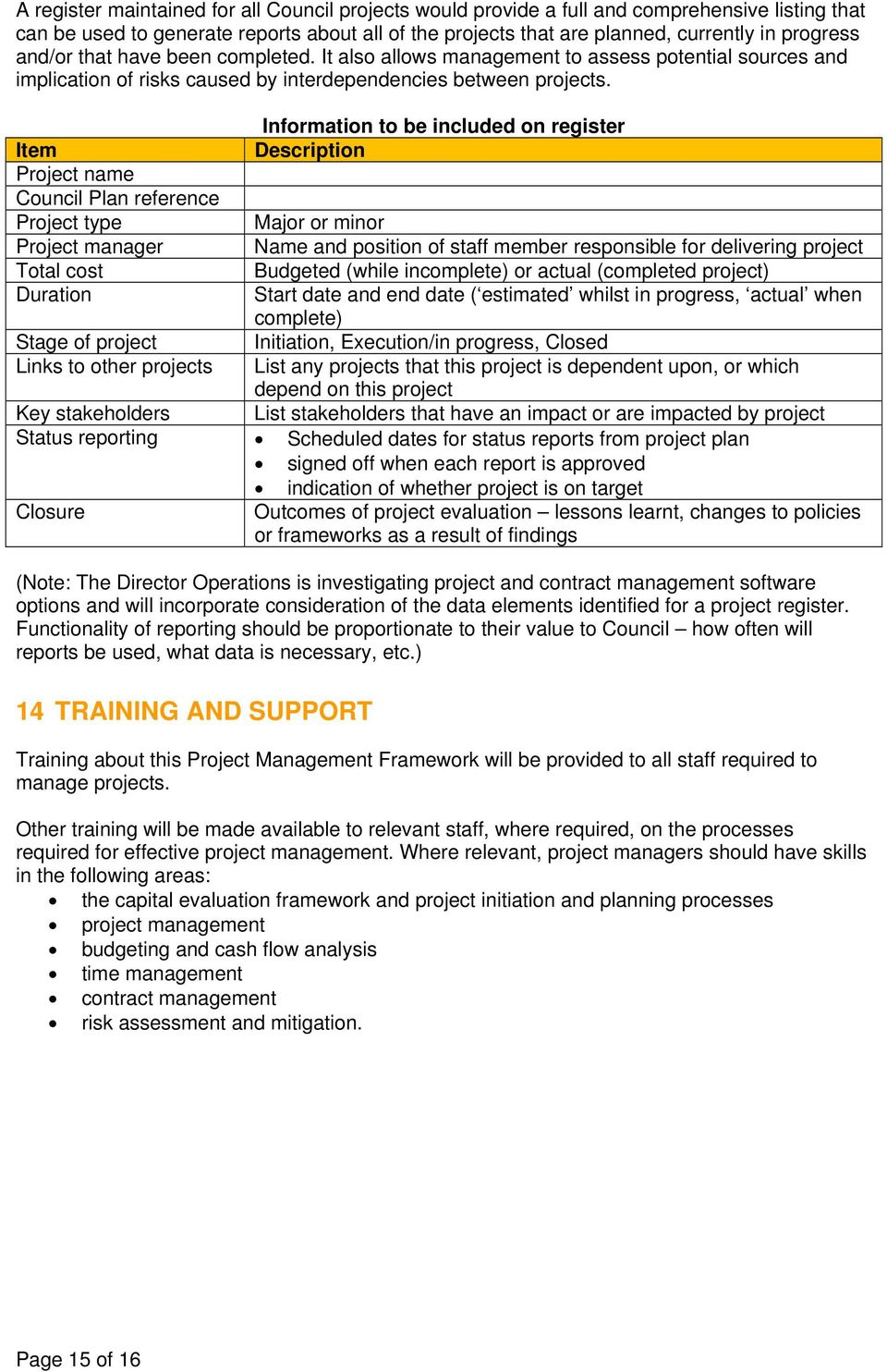 Information to be included on register Item Description Project name Council Plan reference Project type Major or minor Project manager Name and position of staff member responsible for delivering