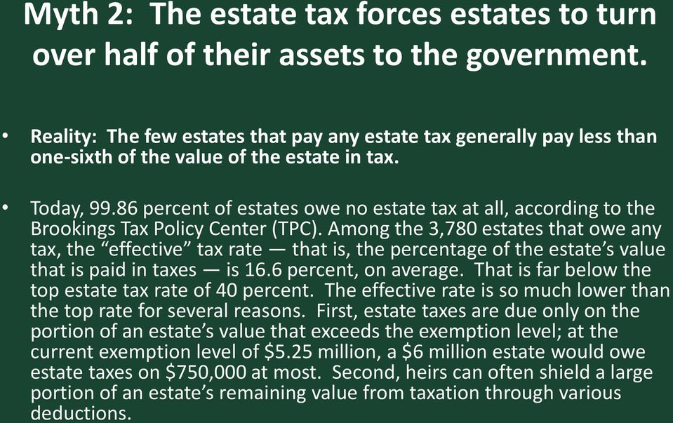 86 percent of estates owe no estate tax at all, according to the Brookings Tax Policy Center (TPC).
