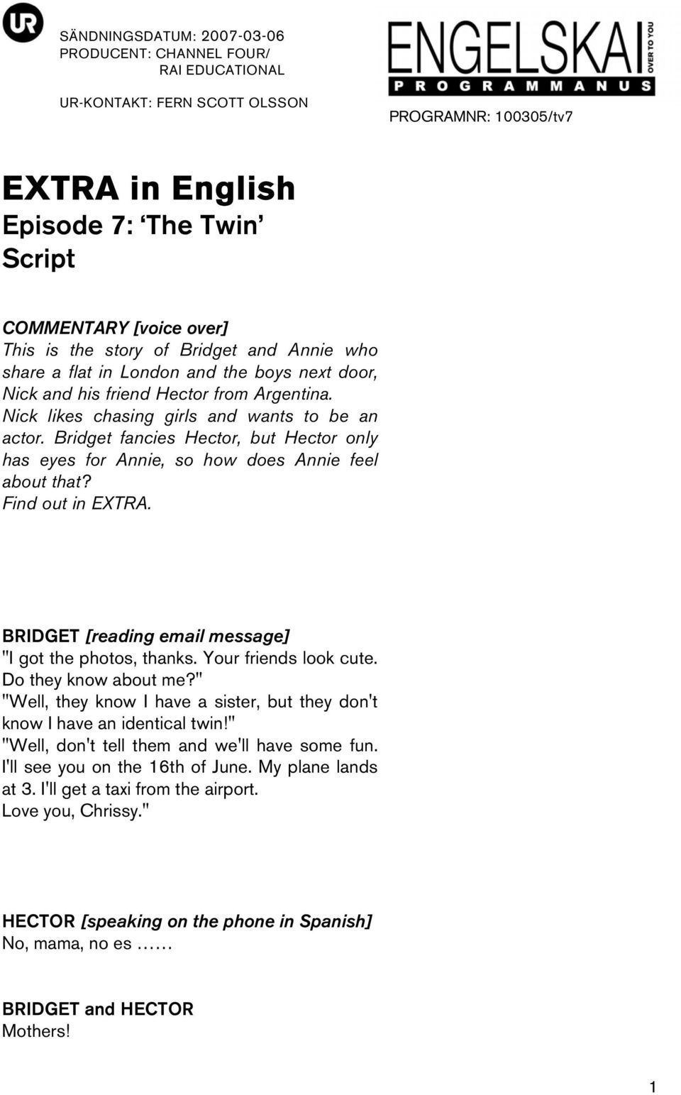 EXTRA in English Episode 7: The Twin Script - PDF