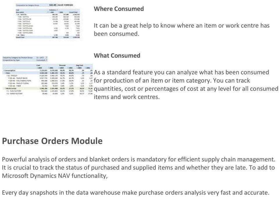 You can track quantities, cost or percentages of cost at any level for all consumed items and work centres.