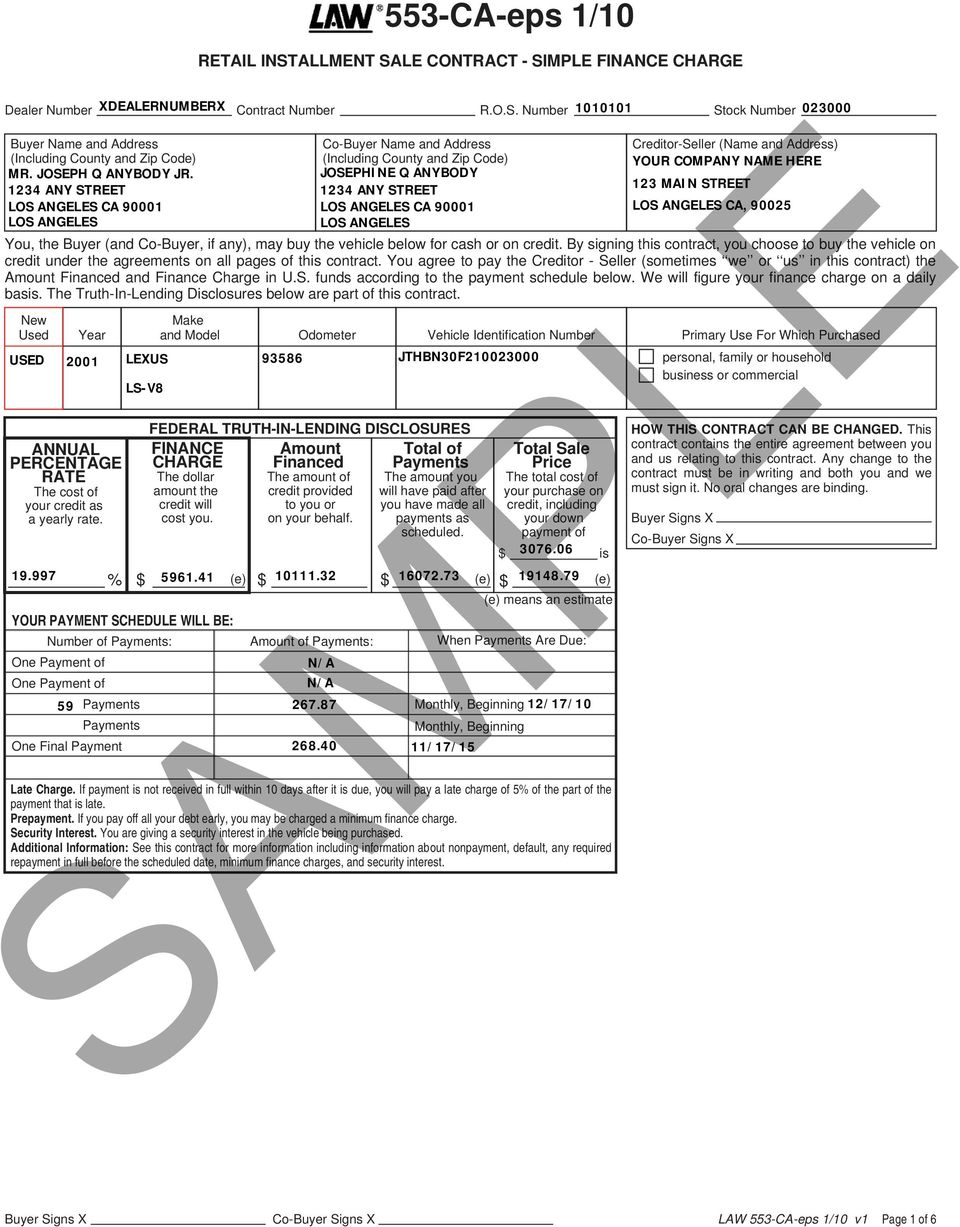 553 Ca Eps 110 Sample Retail Installment Sale Contract Simple