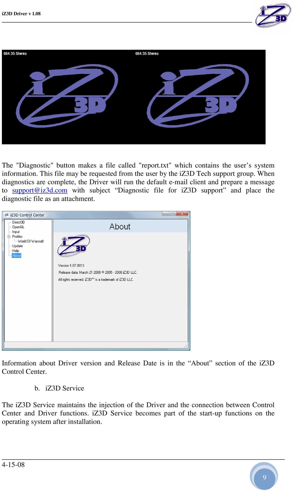 Iz3d Stereo Driver Description Directx Realization Pdf Line Com With Subject Diagnostic File For Support And Place The As An Attachment