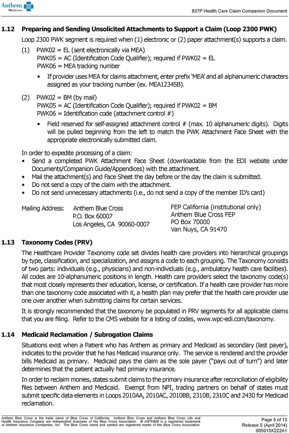 837 Professional Health Care Claim  Section 1 837P