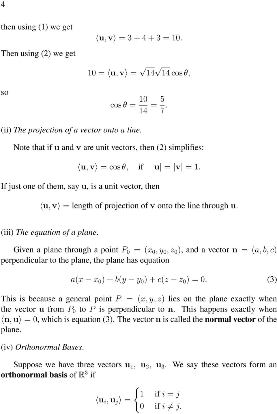 (iii) The equation of a plane.