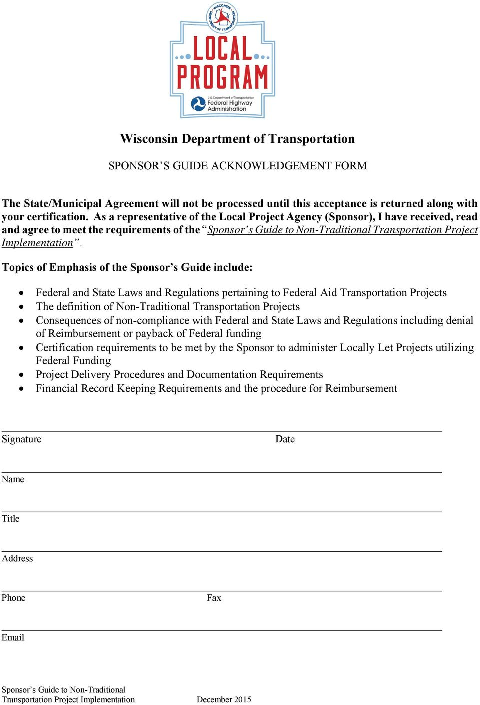 Sponsor's Guide To Non-Traditional Transportation Project
