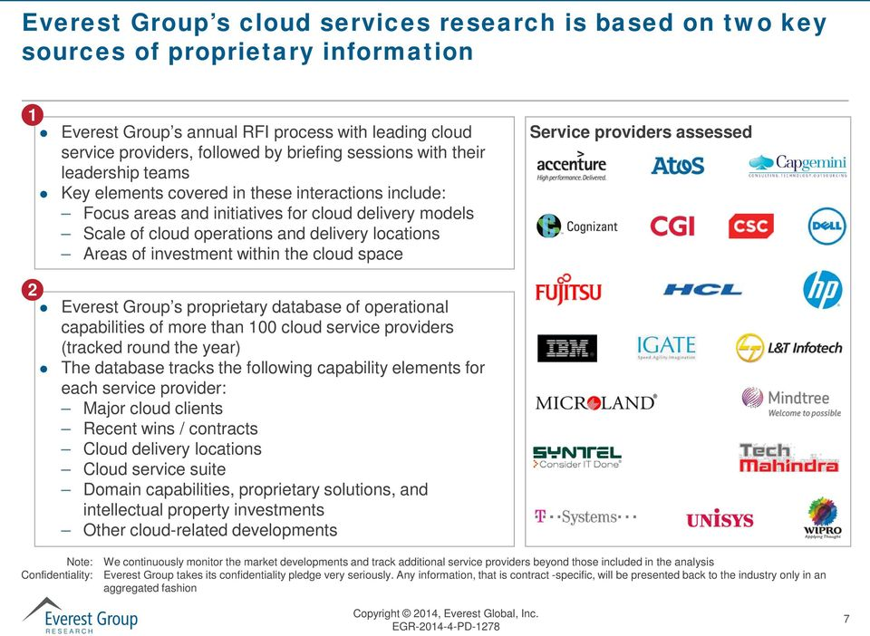 investment within the cloud space Service providers assessed 2 Everest Group s proprietary database of operational capabilities of more than 100 cloud service providers (tracked round the year) The