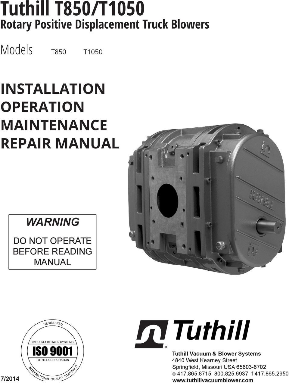 Tuthill T850/T1050 INSTALLATION OPERATION MAINTENANCE REPAIR