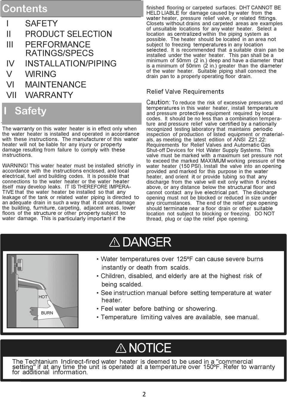 Guarantee of safe operation of the water heater