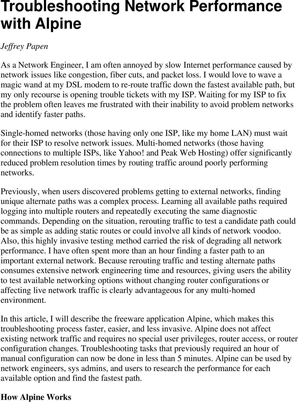 Troubleshooting Network Performance with Alpine - PDF