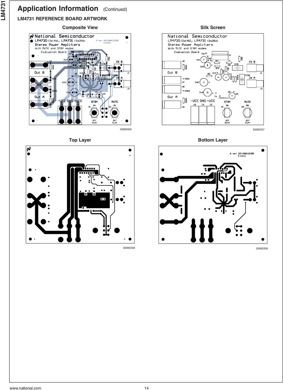 Lm4731 Stereo 25w Audio Power Amplifier With Mute And Standby Modes Schematic Circuit Diagram Using Lm4992 View Silk Screen 20060356 20060357 Top Layer