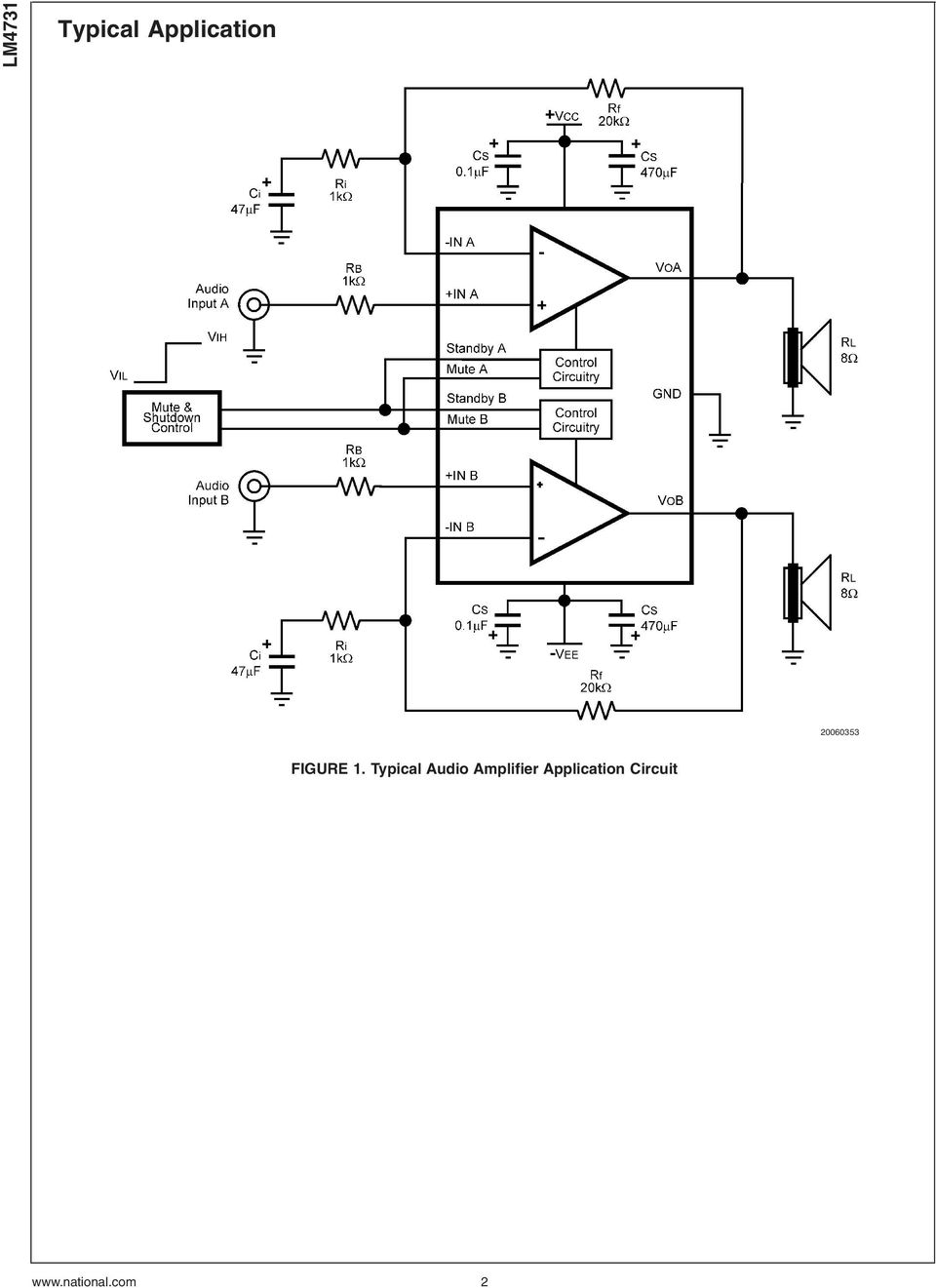 Lm4731 Stereo 25w Audio Power Amplifier With Mute And Standby Modes Mosfet Circuit Typical