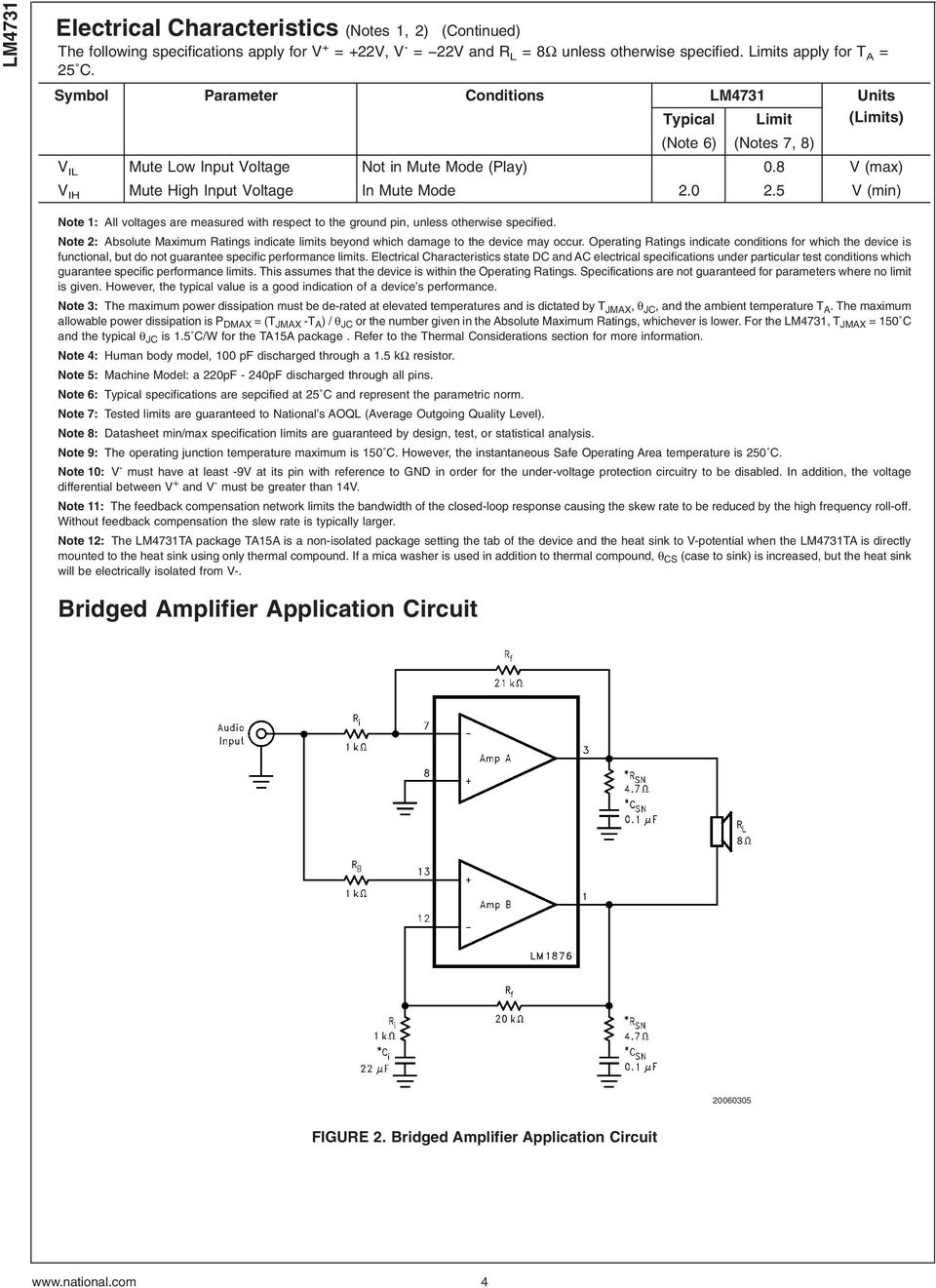 Lm4731 Stereo 25w Audio Power Amplifier With Mute And Standby Modes Schematic Circuit Diagram Using Lm4992 Bridged Application 4 5 V Min Note 1 All Voltages Are Measured Respect To The