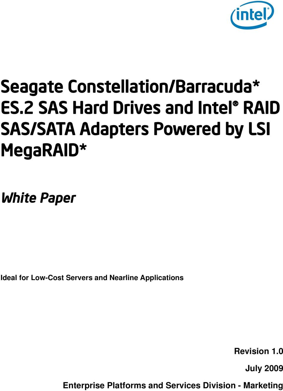 by LSI MegaRAID* White Paper Ideal for Low-Cost Servers and