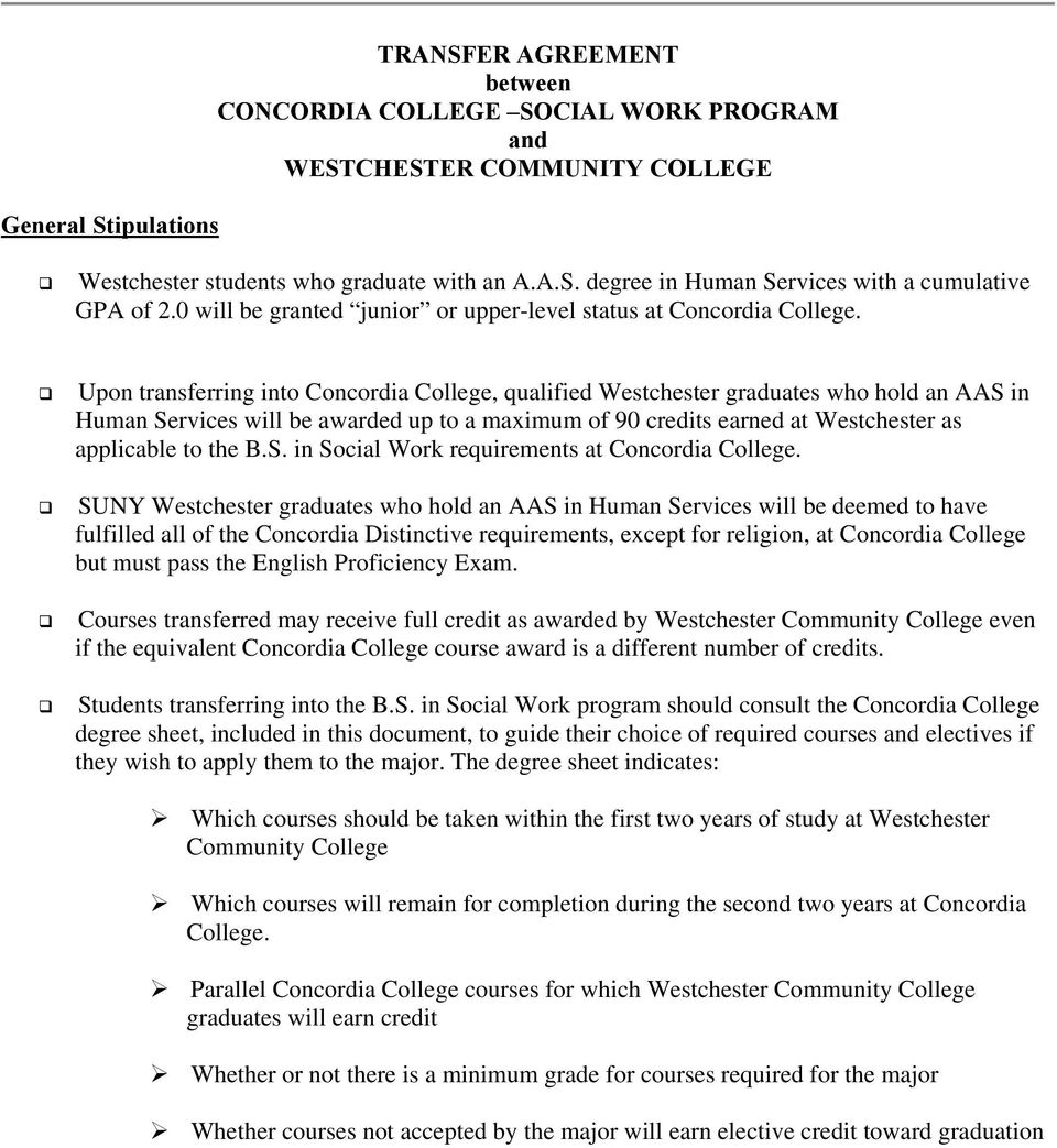 Transfer Agreement Between Concordia College Social Work Program And