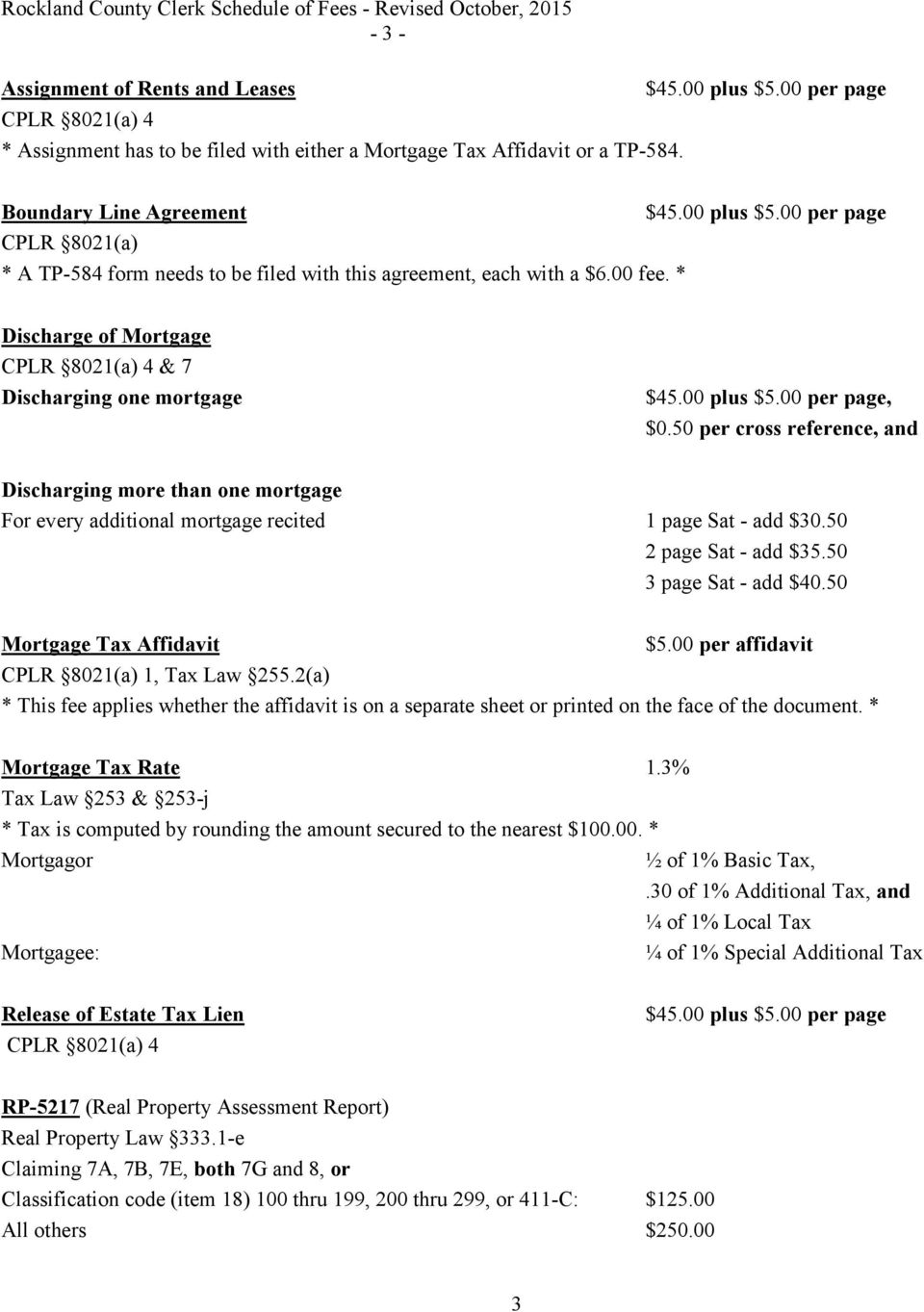 Rockland County Clerk S Office Schedule Of Fees Paul Piperato