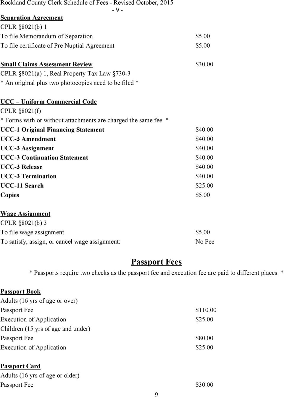Rockland County Clerk s Office  Schedule of Fees PAUL