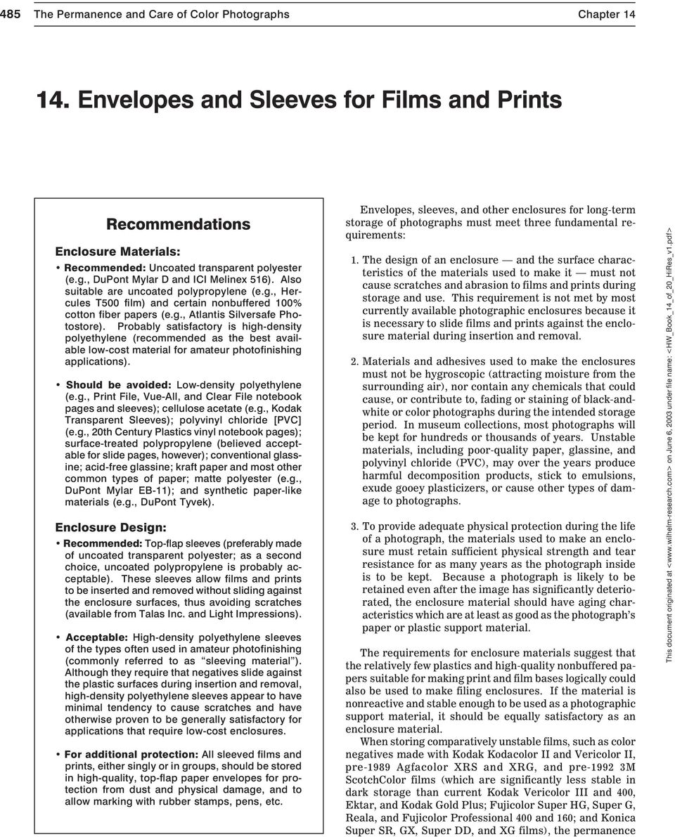 14  Envelopes and Sleeves for Films and Prints - PDF