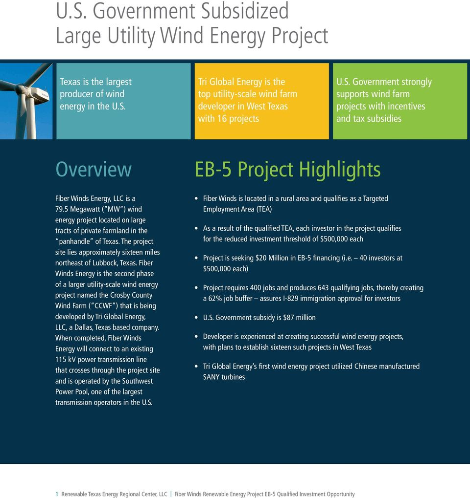 5 Megawatt ( MW ) wind energy project located on large tracts of private farmland in the panhandle of Texas. The project site lies approximately sixteen miles northeast of Lubbock, Texas.