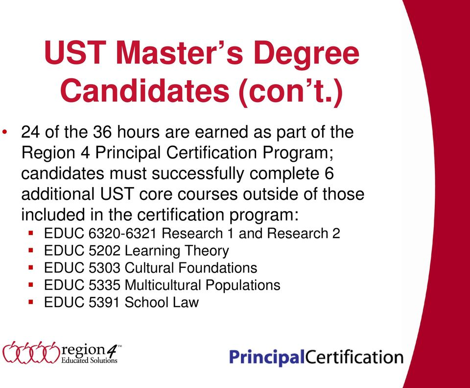 must successfully complete 6 additional UST core courses outside of those included in the