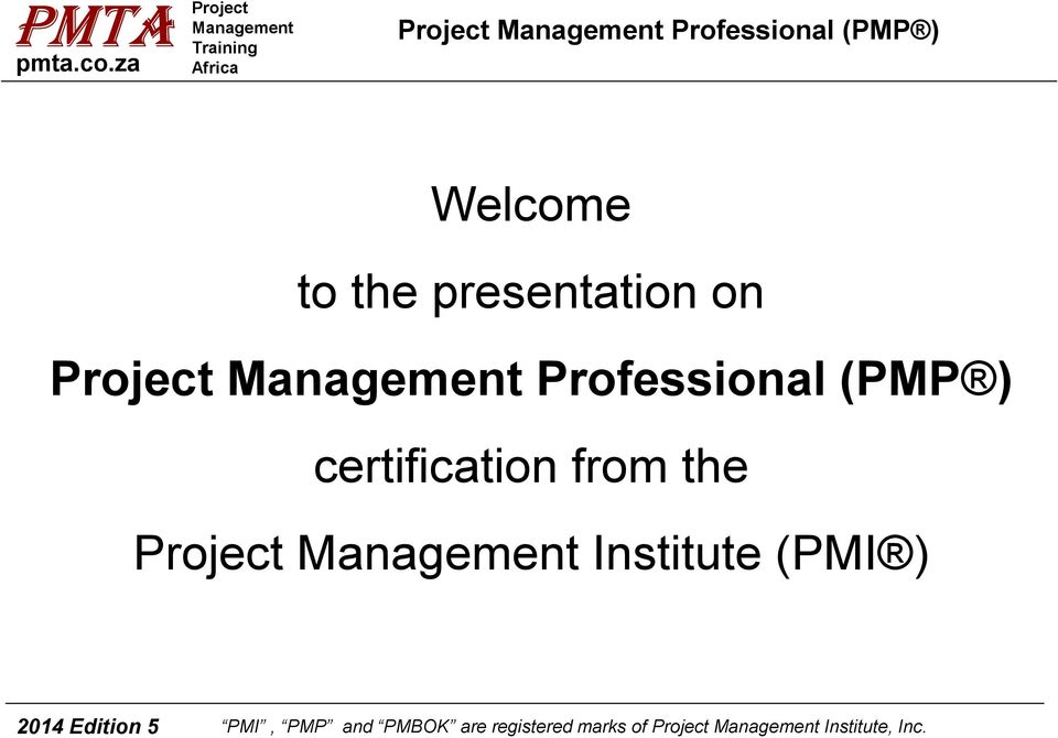 Welcome To The Presentation On Certification From The Project