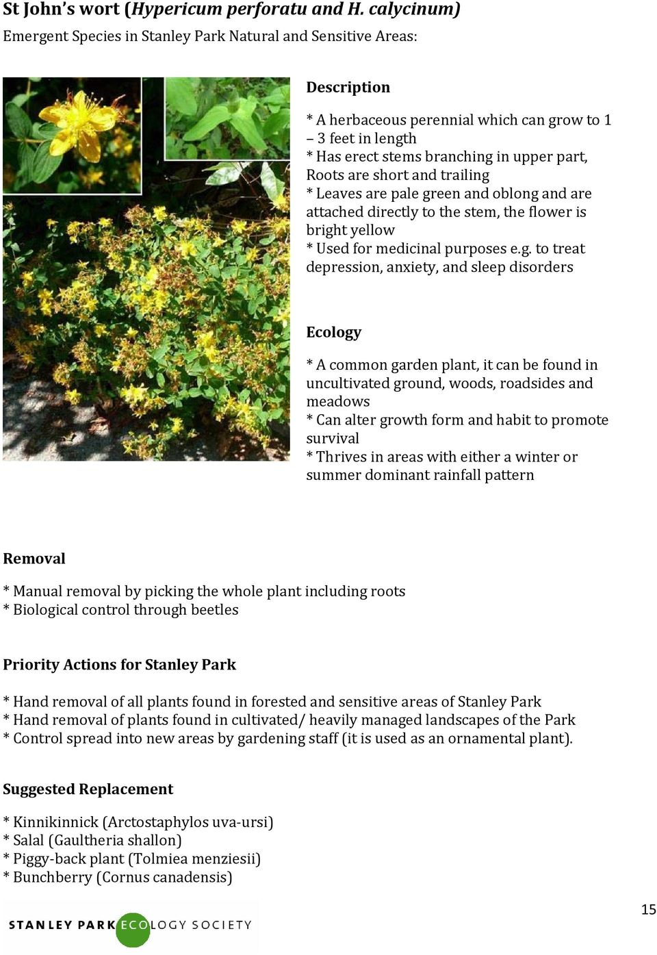 Stanley Park Ecology Society Guide to Invasive Plant