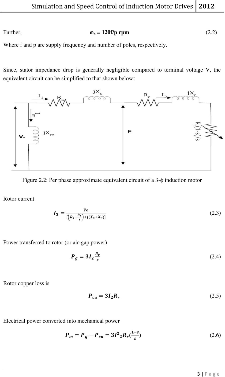 Simulation And Speed Control Of Induction Motor Drives Pdf Constant Airgap Equivalent Circuit Simplified To That Shown Below Figure 2
