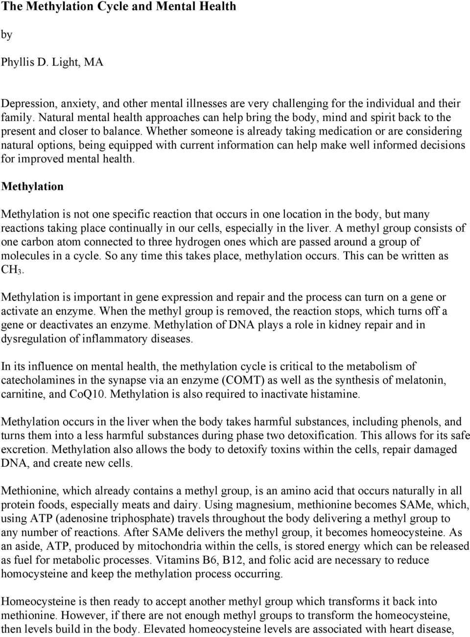 The Methylation Cycle and Mental Health - PDF