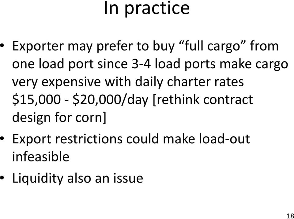 rates $15,000 $20,000/day [rethink contract design for corn] Export