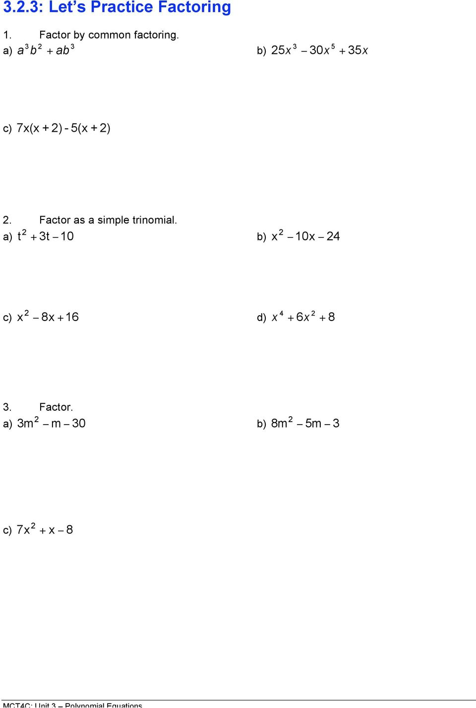 Unit 3: Day 2: Factoring Polynomial Expressions - PDF