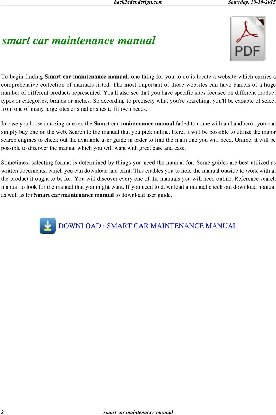 SMART CAR MAINTENANCE MANUAL  That is why smart car