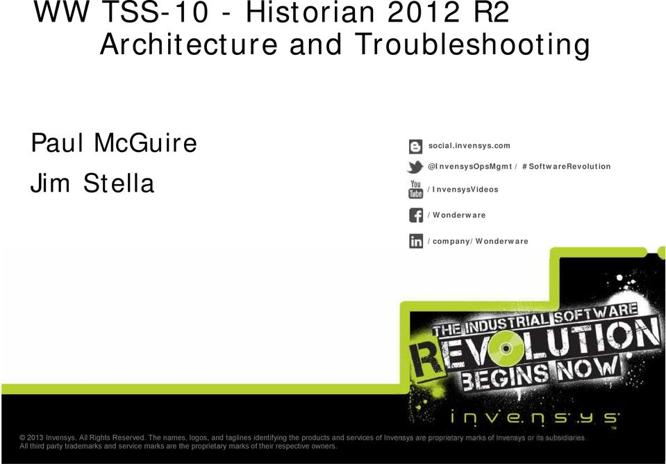 WW TSS-10 - Historian 2012 R2 Architecture and Troubleshooting - PDF